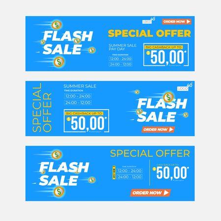 flash sale premium inscription design template. summer sale banner. Vector illustration flyer or poster promotion Archivio Fotografico - 129794678