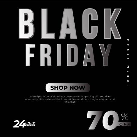 Black Friday sale premium inscription design template. Black Friday banner. Vector illustration flyer or poster promotion Archivio Fotografico - 129794673