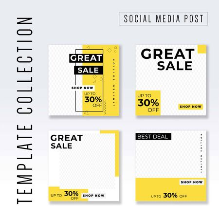 Template collection Social Media post, instagram post template collection, awesome promotional banner design vector Illustration