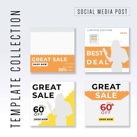 Template collection Social Media post, post template collection, awesome promotional banner design vector Иллюстрация