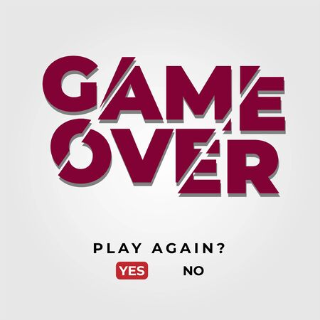 game over screen end of game or competition with glitch, end of screen closing, playing fun game Ilustração