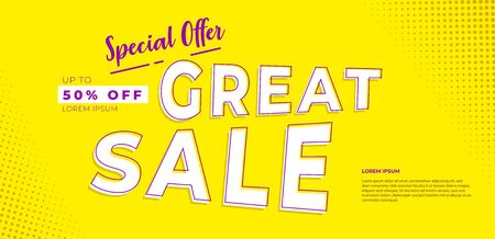 special offer discount 50% off great sale, season promotional, banner design vector template, yellow background, with half tone background combination