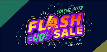 flash sale design vector, amazing launching market, for business, can used for title header, banner, flyer, poster, and social media post, colorful gradient composition Ilustração