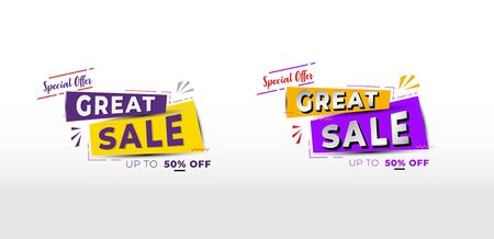 special offer great sale ribbon banner design vector, special discount 50% off, with two option color design and alternative style font Archivio Fotografico - 129794698