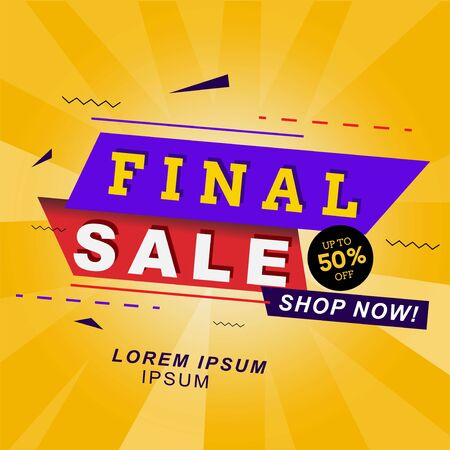 title header final sale banner with on yellow abstract background. Vector illustration. for promotional product or service and more Çizim