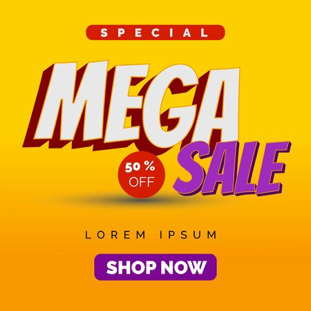 mega sale header design, special offer, typographic textual for promotional advertising, product ads