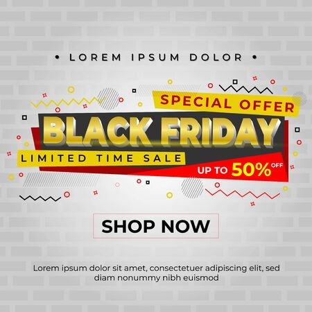 special offer black Friday design with a brick wall background, and enhanced with abstract elements Illusztráció