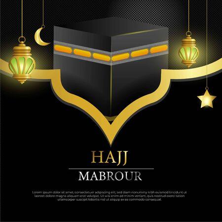Hajj Mabrour islamic banner template design with gold lantern - Translation of text : Hajj (pilgrimage) Stock fotó - 133741072