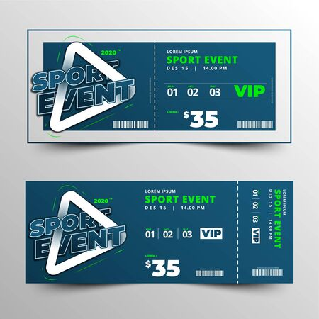 sports event ticket typographic template design vector, clean and simple layout, toolkit event template design, modern and creative element Stock Illustratie