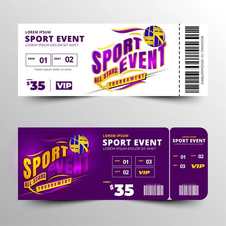 sports event ticket template design vector, clean and simple layout, toolkit event template design, modern and creative element white two option Stock fotó - 133741083
