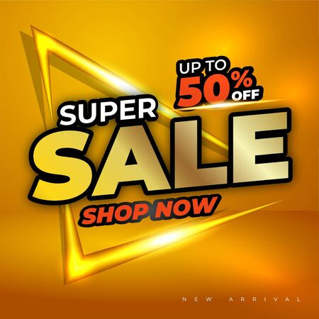 elegant header or title super sale design vector with gold light and gold, red, white color text, gold background elegant clean and clear Illusztráció