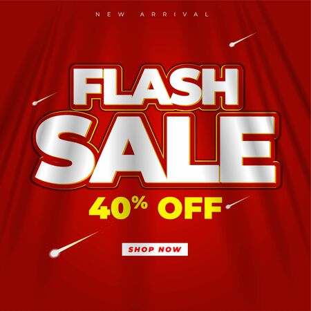 flash sale design banner or poster header to complement the promotional media elements red background theme curtain fabric