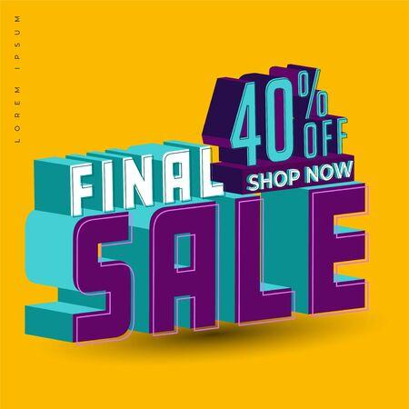 final sale title text effect simple clean and clear vector conceptual design element promotional, modern background, banner promotional Illusztráció