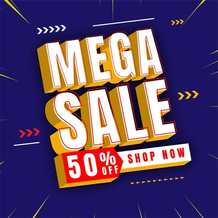 text effect mega sale 3d design vector conceptual header element promotional, abstract background, with special effect Stock fotó - 133740833