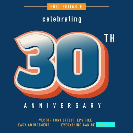celebrating 30 th anniversary text effect, all that can be edited and replaced as you wish and needs, modern vintage and retro style Stock fotó - 136885510
