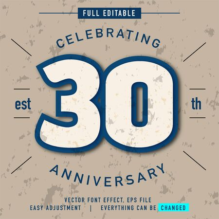 celebrating 30 th anniversary text effect, all that can be edited and replaced as you wish and needs, modern vintage and retro style