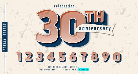 30 anniversary number effect conceptual, element design vector, easy custom template, can be use promotion, event, seasonal sale and more Illusztráció