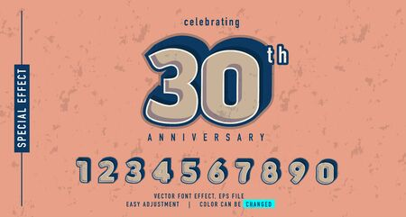 30 anniversary number effect conceptual, element design vector, easy custom template, can be use promotion, event, seasonal sale and more Stock fotó - 136909295