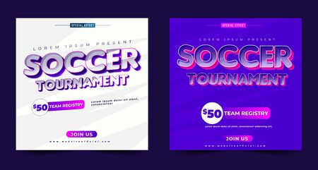 soccer tournament banner design, modern style, conceptual layout, event sport flyer or poster template