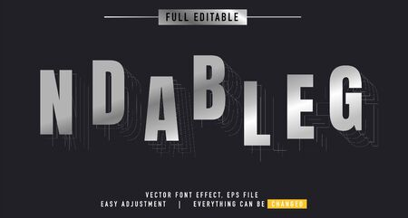 shadow and metal text effect design editable vector, easy to change as needed, luminous outside has a shadow behind, the main element of the title is modern and beautiful, Stock fotó - 137947988
