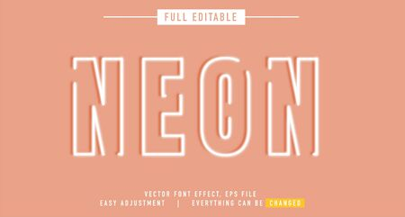 neon text effect design editable vector, easy to change as needed, luminous outside has a shadow behind, the main element of the title is modern and beautiful,
