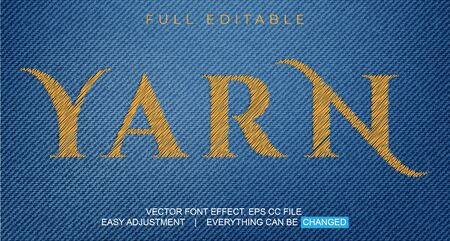text font effect editable vector template, with the style of sewing thread, embroidery, and can be used for promotion or event fabrics, fashion, yarn, weaving and craft, easy to edit and adjust as needed