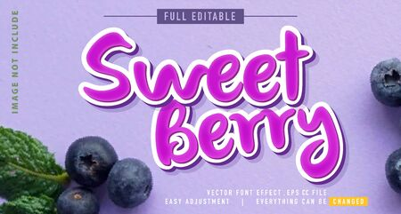 blueberry text effects that can be easily edited, bold, modern and attractive, you can use them for titles, quotes, promotional design elements and much more Stock fotó - 138455914