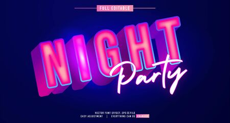 premium text effect editable vector template, neon night style, modern look, with the effect of shining light, everything can be changed and adjusted according to the needs of the event and more