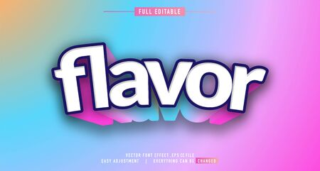 Colorful flavor text effect  vector template