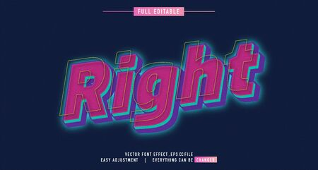 Right glow premium text effect  vector template