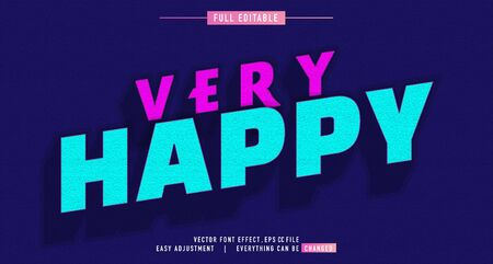 Very Happy color premium text effect  vector template
