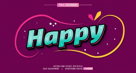 happy premium text effect editable vector template, style modern look, with the effect of shining light, everything can be changed and adjusted according to the needs of the event and more