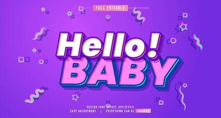 Hello! BABY color premium text effect  vector template