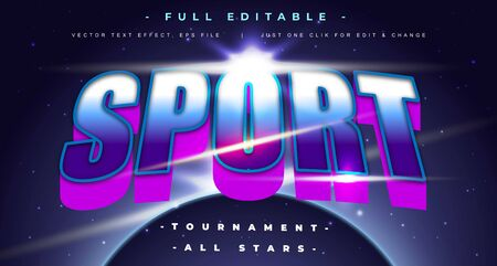 sport event text effect design editable vector, light effect theme, bold and modern style and elegant