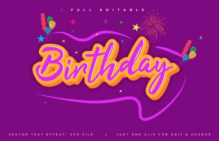 Beauty Birthday text effect design editable vector, light effect theme, bold and modern style and elegant, everything you can easy changed