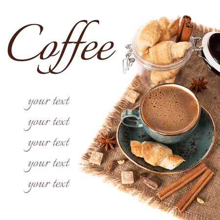 Coffee, spices and croissants photo