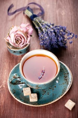 Ð¡up of tea a bouquet of lavender