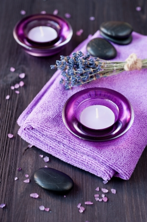 Zen stones, candles and lavender for the spa.