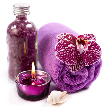 Spa concept ( Orchid, sea salt, candle and towel)  Imagens