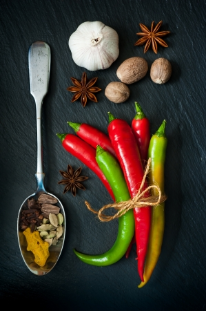 Hot chili pepper, nutmeg, cardamom, turmeric, star anise on a dark background Imagens
