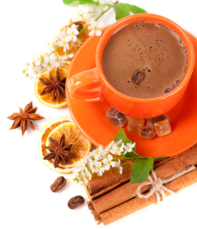 Cup of coffee and spices for your breakfast  photo