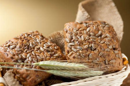 Bread and wheat ears photo