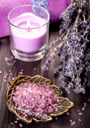SPA composition with lavender, candle and sea salt photo
