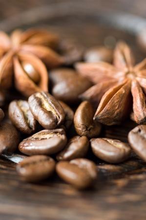 kávébab és fűszerek Stock fotó