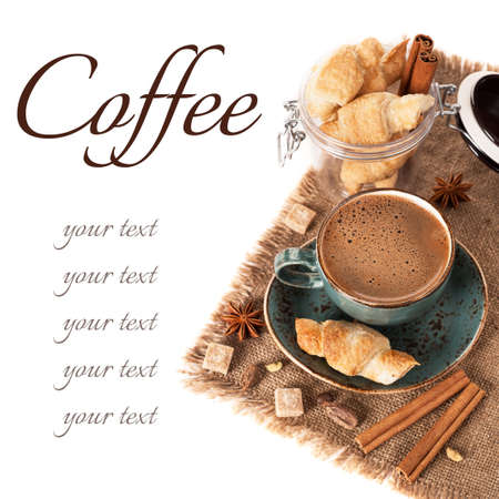 anis: Coffee, spices and croissants Stock Photo