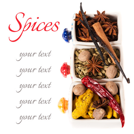 Colorful spices on a white background with sample text Stockfoto