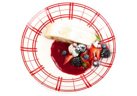 Apple strudel with fresh berries photo