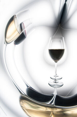 Glass of white and red wine. The concept of distortion Stock Photo - 22885192