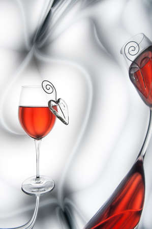 Red wine and heart decorations Stock Photo - 22885197