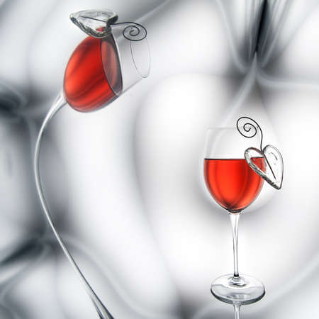 Red wine and heart decorations Stock Photo - 22885198